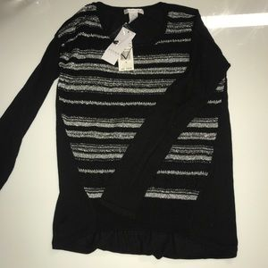NWT Design History Black and Silver Sweater